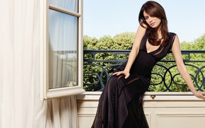 Wallpaper pose, model, figure, dress, actress, hairstyle, balcony, Olga Kurylenko, brown hair, Olga Kurylenko, sitting, in ...