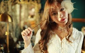 Picture look, sheet, Asian, magnifier, cutie