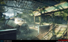 Picture the building, devastation, frame, Crysis 3, Airport Map