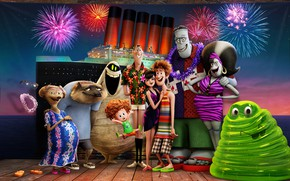 Picture sea, night, lights, background, ship, cartoon, Marina, salute, fireworks, characters, Hotel Transylvania 3, Monsters on …