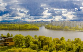 Picture the sky, trees, clouds, river, rain, home, Moscow, Russia