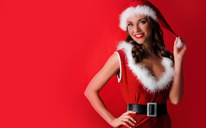 Wallpaper holiday, figure, belt, red background, hairstyle, fur, brunette, in red, maiden, dress, pose, smile, Christmas, ...