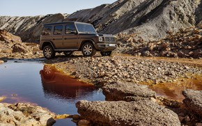 Picture water, stream, stones, Mercedes-Benz, breed, 2018, the ground, G-Class, deposits