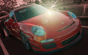 Picture red, Porsche, GT3, sports car