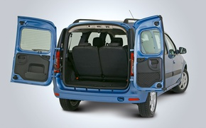 Picture blue, the trunk, Lada Largus, wide open