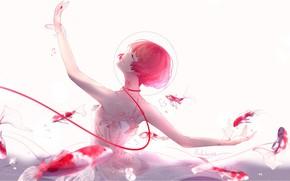 Picture girl, fish, dance, anime, art, lluluchwan