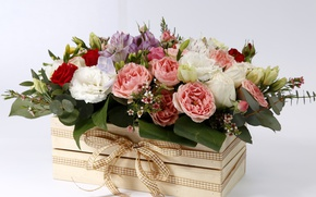 Wallpaper flowers, box, roses, buds, bow, composition, Eustoma, Lisanthus