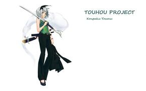 Picture katana, white background, touhou, art, Myon, Konpaku Youmu, Touhou Project, Project East, pantsuit, Shimohigashi In …