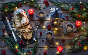 Wallpaper branches, Christmas, New year, garland, berries, coffee, candles, Stollen
