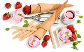 Picture strawberry, ice cream, sweets, jam