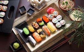 Picture fish, sauce, caviar, sushi, rolls, serving, pasta