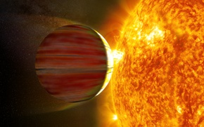 Picture the sun, space, planet