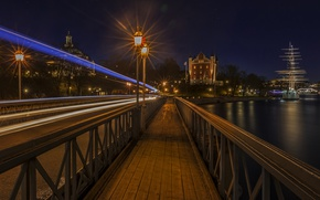 Picture Home, Night, The city, River, Stockholm, Sweden, Bridges, Street Lights