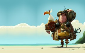 Picture art, pirate, parrot, John Silver, Denis Zilber