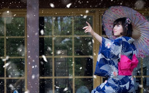 Picture girl, snow, umbrella, mood, Japanese, kimono, Asian