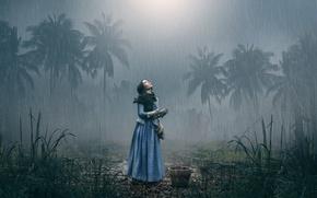 Wallpaper girl, palm trees, rain