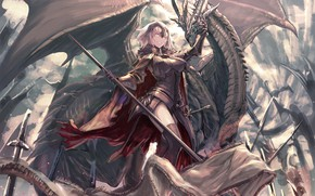 Picture girl, anime, art, fate grand order, jeanne age