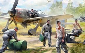 Wallpaper FW-190, German air force ground crew, Aviation equipment, German aircraft, figure, The airfield