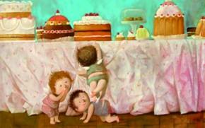 Picture children, cakes, treats, cake, Gapchinska