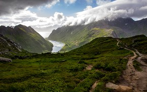 Picture sea, grass, clouds, mountains, stones, rocks, coast, height, slope, Norway, The Lofoten Islands, Lofoten