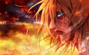 Picture fire, sparks, giant, burning eyes, The Invasion Of The Titans, Annie Leonhardt, obsessed, Shingeki no …