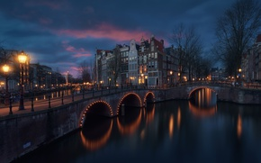 Wallpaper light, the city, lights, home, the evening, Amsterdam, channel, bridges