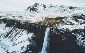 Picture winter, snow, mountains, waterfall, Iceland