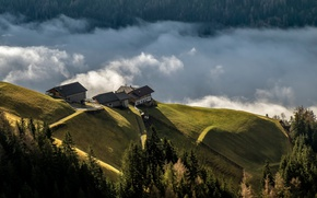 Picture clouds, landscape, mountains, hills, home, forest