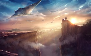 Picture space, flight, planet, rays
