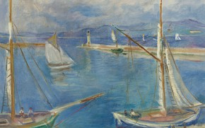 Wallpaper sea, picture, Charles Camoin, Charles Camoin, White Sailing Boats in the Port of Saint-Tropez, sail, ...