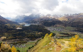 Picture autumn, forest, clouds, mountains, lake, Switzerland, valley, Grisons, The Canton Of Graubuenden