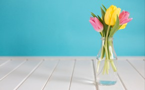 Picture flowers, bouquet, spring, yellow, tulips, pink, fresh, yellow, wood, pink, flowers, tulips, spring, tender