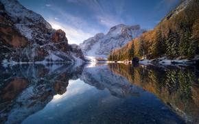 Wallpaper autumn, the sky, reflection, snow, winter, lake, mountain