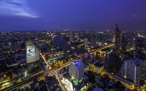 Picture night, lights, Bangkok, Thailand, megapolis, Bangkok, Khan Na Yao