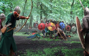 Wallpaper weapons, Forest, battle, warrior, bow, shield, armor
