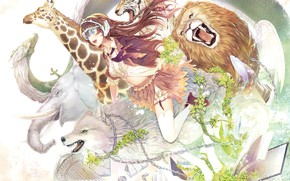 Picture animals, girl, anime
