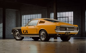Picture Mustang, Ford, Auto, Retro, Machine, Ford, Fastback, 1968, Rendering, Ford Mustang GT, Mustang GT, Orange …