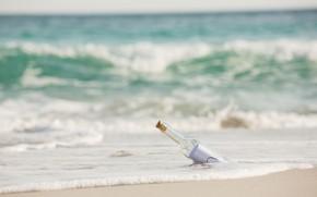 Picture sand, sea, wave, beach, summer, the sky, letter, shore, bottle, summer, beach, sea, seascape, romantic, …