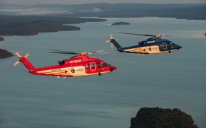 Wallpaper landscape, Sikorsky S-76, helicopters