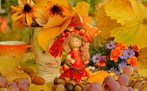 Wallpaper Flowers, Autumn, Leaves, Doll, Grapes, Fall, Flowers, Autumn, Leaves