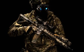 Picture equipment, helmet, assault rifle, automatic carbine