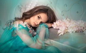 Picture girl, flowers, pose, model, hand, makeup, dress, hairstyle, lies, pink, turquoise