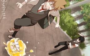 Picture chase, anime, guys, Sawada Tsunayoshi, Katekyo Hitman REBORN!, Hibari Kyoya