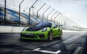 Picture coupe, track, Porsche, the fence, tribune, 2018, 911 GT3 RS