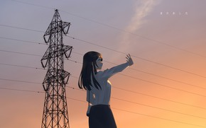 Picture girl, sunset, wire, the evening
