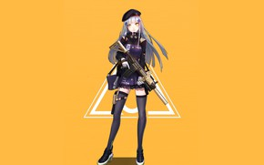 Picture girl, weapons, anime, art, yellow background, Girls Frontline, Girls front