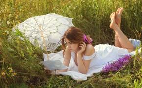Picture field, summer, grass, girl, flowers, nature, umbrella, brown hair, sundress, Vladislav Opletaev