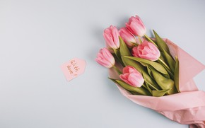 Picture flowers, bouquet, tulips, love, pink, fresh, wood, pink, flowers, romantic, tulips, spring, with love, tender