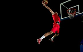 Wallpaper the ball, mesh, red, athlete, t-shirt, jump, sneakers, form, shorts, male, basketball, black background, socks, ...
