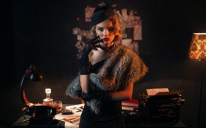 Picture look, girl, face, portrait, hat, dress, lipstick, lamp, gloves, touch, fur, light, phone, typewriter, cognac, ...